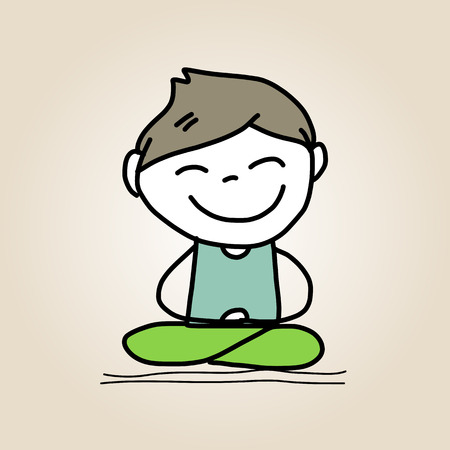 equanimity: hand drawing cartoon character happy life meditation Illustration