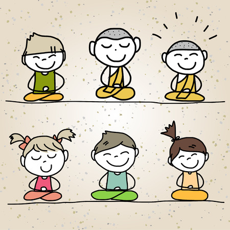 hand drawing cartoon happy life meditation