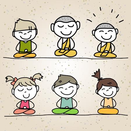 moine: main dessin animé de dessin vie heureuse méditation