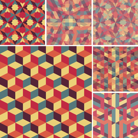 set of abstract retro geometric pattern for design Vector
