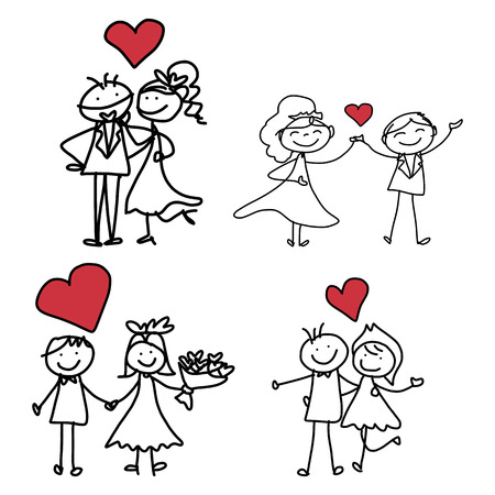 hand drawing cartoon character happiness wedding  Vector