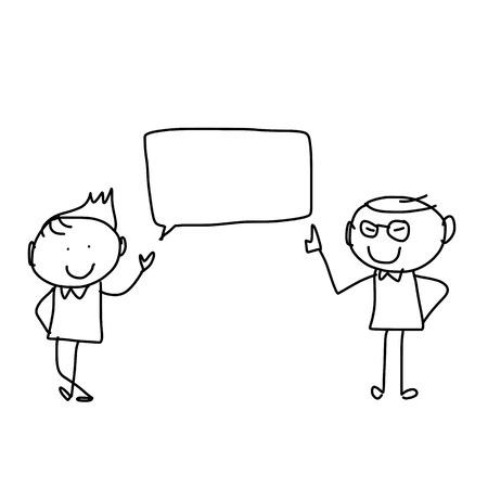 discuss: hand drawing cartoon character happiness businessmen discuss business plan