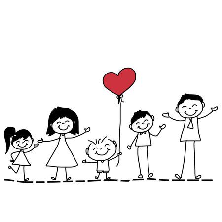 손 그리기 만화 캐릭터 행복한 가족 일러스트