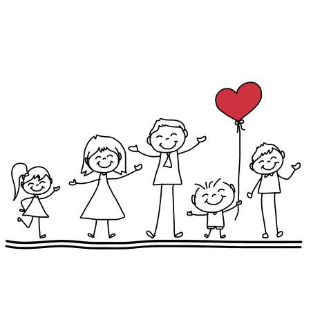 familias jovenes: mano dibujo de la historieta de la familia feliz car�cter