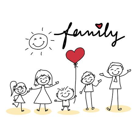 手描きの漫画のキャラクターの幸せな家族