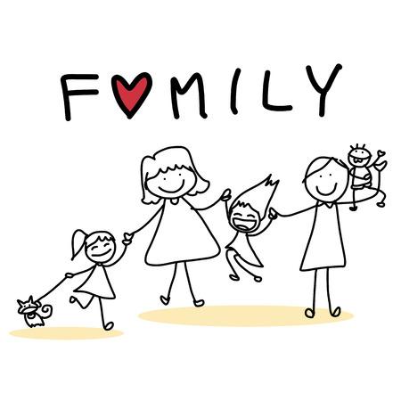 Disegno a mano carattere famiglia felice fumetto Archivio Fotografico - 26262334