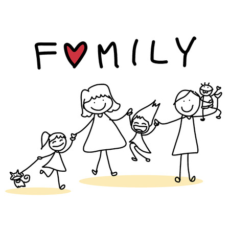 hand drawing cartoon character happy family