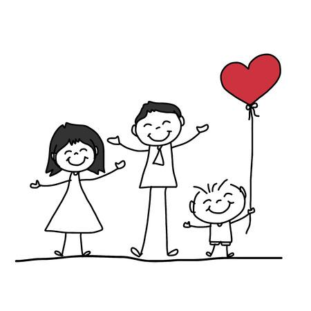 Disegno a mano carattere famiglia felice fumetto Archivio Fotografico - 26262335