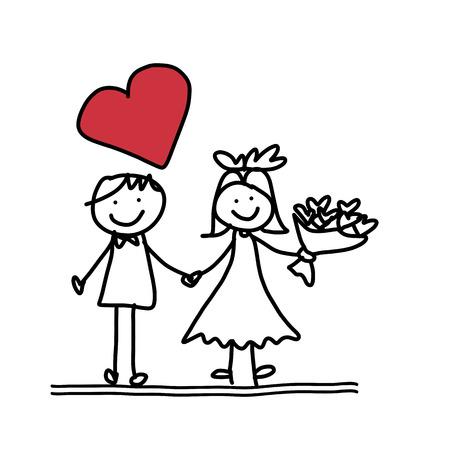 손 그리기 만화 캐릭터 행복 결혼식