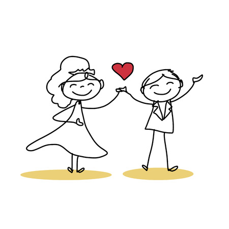 hand drawing cartoon character happiness wedding  Ilustracja