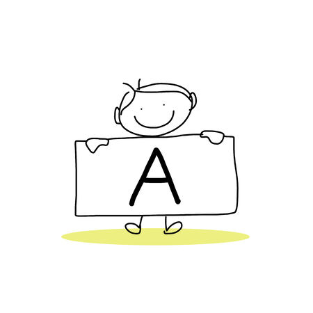 hand drawing cartoon character happiness alphabet Illustration