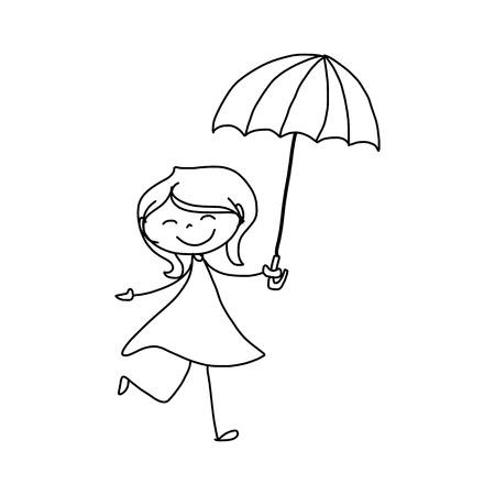drawing cartoon: hand drawing cartoon character happiness Illustration