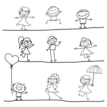 手描きの漫画のキャラクターの幸福  イラスト・ベクター素材