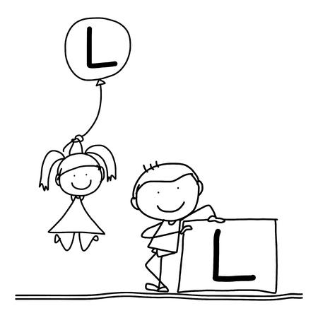 l boy: hand drawing cartoon character happiness alphabet L