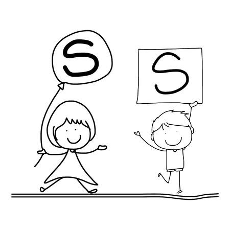 hand drawing cartoon character happiness alphabet S Vector