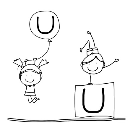 hand drawing cartoon character happiness alphabet U Vector