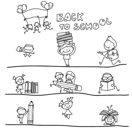 hand tekenen cartoon gelukkig kind terug naar school