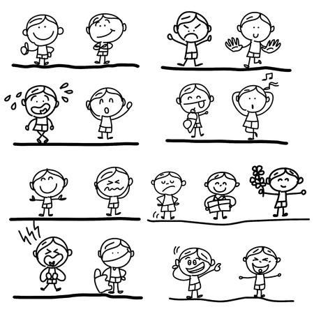 emozioni: disegno a mano le emozioni dei cartoni animati