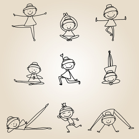 hand drawing cartoon happy people yoga work-out Vector
