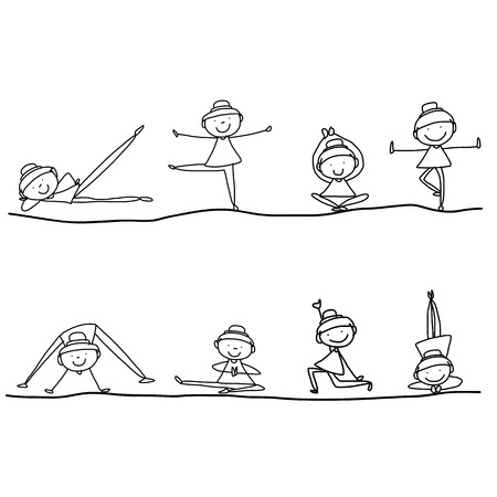 drawing cartoon: hand drawing cartoon happy people yoga work-out Illustration