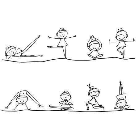 kind spielen: Handzeichnung Karikatur gl�ckliche Menschen Yoga Work-out Illustration