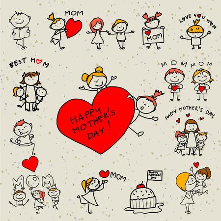 zeichnen: Tag Handzeichnung Cartoon-Konzept glückliche Kinder glückliche Mutter Illustration