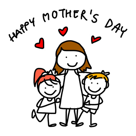 hand drawing cartoon concept happy kids happy mothers day Vector