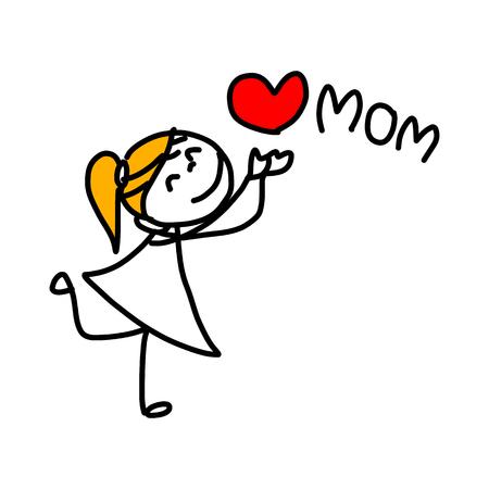 mano concetto fumetto illustrazione bambini felici giorno felice della madre
