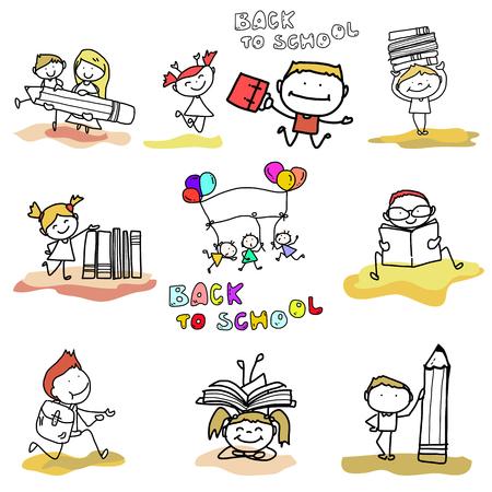 livre �cole: dessin anim� de dessin � la main heureuse enfant retourne � l'�cole