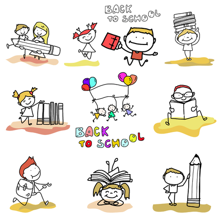 go back: hand drawing cartoon happy kid back to school