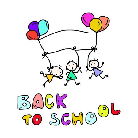 hand drawing cartoon happy kid back to school