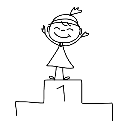 hand drawing cartoon character happy business woman