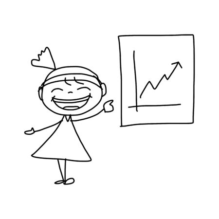 hand drawing cartoon character happy business woman Illustration