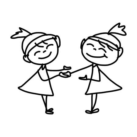 drawing cartoon: hand drawing cartoon character happy business woman Illustration