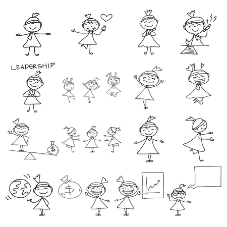 buisness woman: hand drawing cartoon character happy business woman Illustration