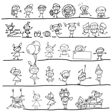 enfant maillot de bain: personnage de dessin anim� de dessin � la main heureux enfants qui jouent