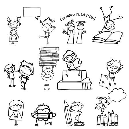 hand drawing cartoon back to school Иллюстрация