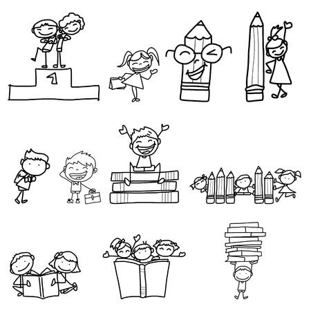 hand drawing cartoon back to school Illustration