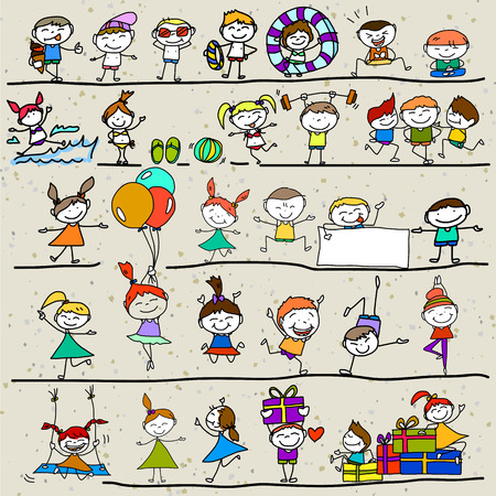 two child: hand drawing cartoon character happy kids playing