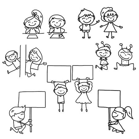 enfant maillot de bain: Concept de bande dessin�e de dessin � la main des enfants heureux de jouer