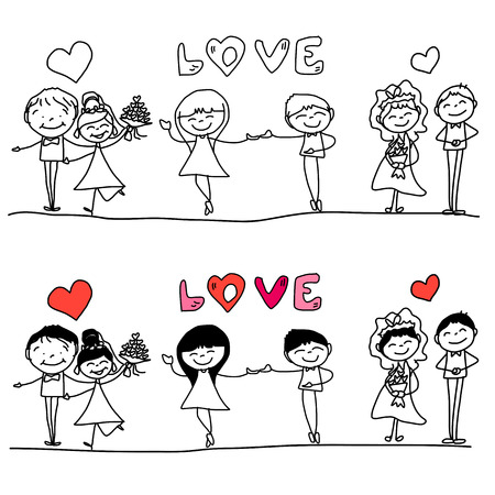 character of people: hand drawing cartoon happy couple wedding Illustration