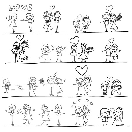 hand drawing cartoon happy couple wedding Иллюстрация