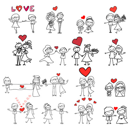 hand drawing cartoon happy couple wedding Illustration