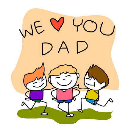 hand drawing cartoon happy family Happy Fathers Day