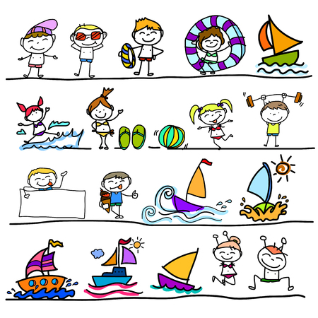 hand drawing cartoon character happy kids playing in summer Vector