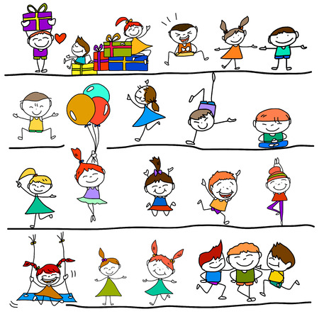 child running: hand drawing cartoon character happy kids playing