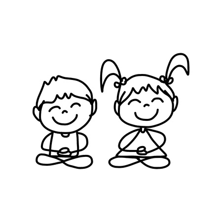 happy kids playing: hand drawing cartoon concept happy kids playing