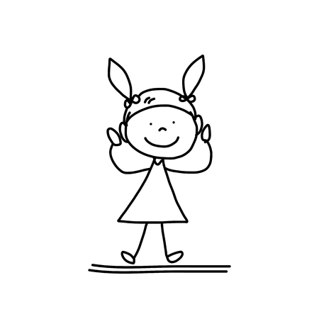 happy kids playing: hand drawing cartoon character happy kids playing