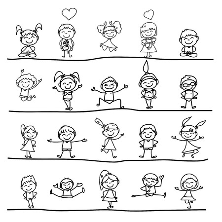 sketch child: hand drawing cartoon concept happy kids playing