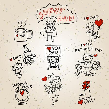 familia animada: Concepto de dibujos animados dibujo de la mano Feliz Día del Padre Vectores